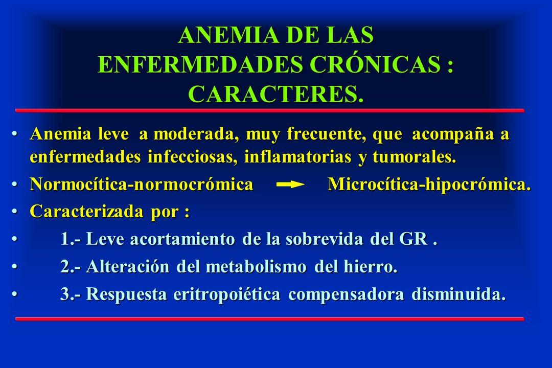 ANEMIA DE LAS ENFERMEDADES CRÓNICAS : CARACTERES. Anemia leve a moderada, muy frecuente, que acompaña a enfermedades infecciosas, inflamatorias y tumo