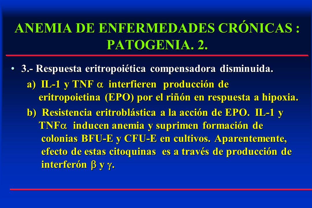 ANEMIA DE ENFERMEDADES CRÓNICAS : PATOGENIA. 2. 3.- Respuesta eritropoiética compensadora disminuida.3.- Respuesta eritropoiética compensadora disminu