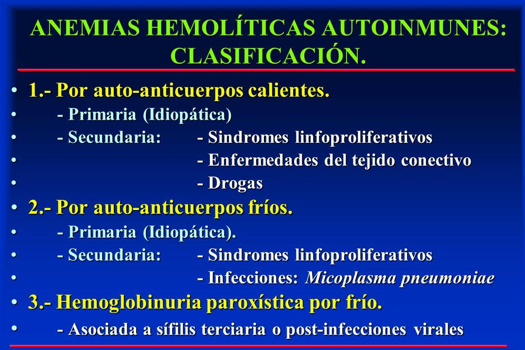 ANEMIAS HEMOLÍTICAS AUTOINMUNES: CLASIFICACIÓN. 1.- Por auto-anticuerpos calientes.1.- Por auto-anticuerpos calientes. - Primaria (Idiopática)- Primar