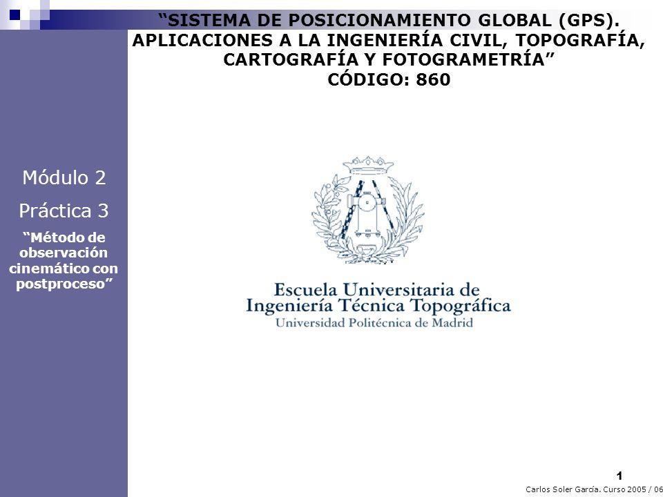 22 Carlos Soler García.Curso 2005 / 06 SISTEMA DE POSICIONAMIENTO GLOBAL (GPS).