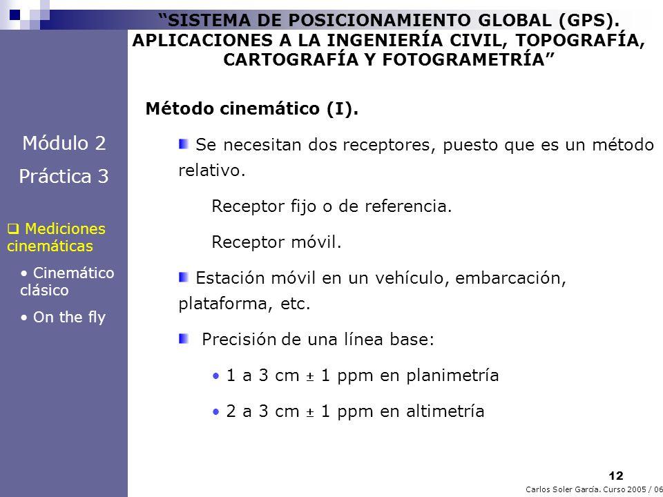 12 Carlos Soler García. Curso 2005 / 06 SISTEMA DE POSICIONAMIENTO GLOBAL (GPS). APLICACIONES A LA INGENIERÍA CIVIL, TOPOGRAFÍA, CARTOGRAFÍA Y FOTOGRA