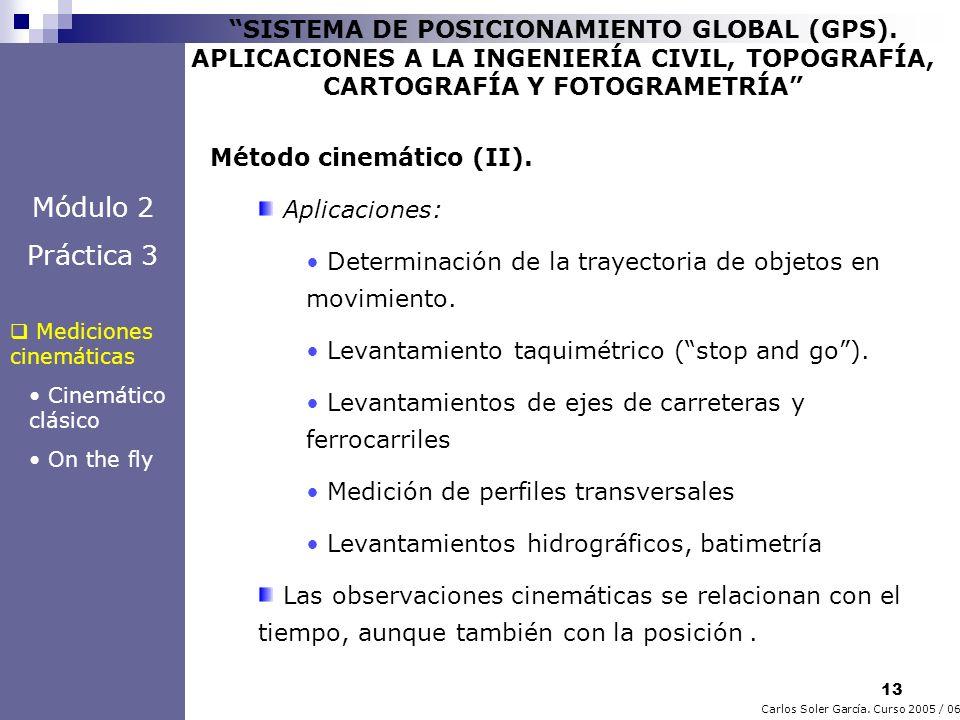 13 Carlos Soler García. Curso 2005 / 06 SISTEMA DE POSICIONAMIENTO GLOBAL (GPS). APLICACIONES A LA INGENIERÍA CIVIL, TOPOGRAFÍA, CARTOGRAFÍA Y FOTOGRA