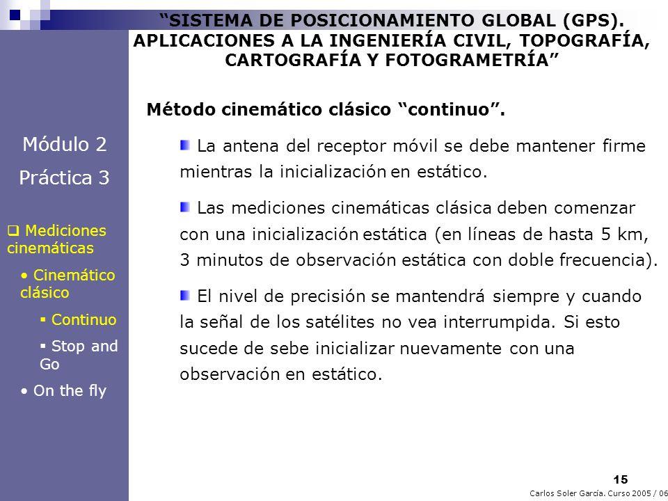 15 Carlos Soler García. Curso 2005 / 06 SISTEMA DE POSICIONAMIENTO GLOBAL (GPS). APLICACIONES A LA INGENIERÍA CIVIL, TOPOGRAFÍA, CARTOGRAFÍA Y FOTOGRA