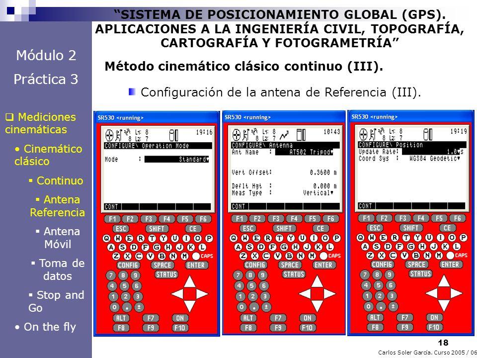 18 Carlos Soler García. Curso 2005 / 06 SISTEMA DE POSICIONAMIENTO GLOBAL (GPS). APLICACIONES A LA INGENIERÍA CIVIL, TOPOGRAFÍA, CARTOGRAFÍA Y FOTOGRA
