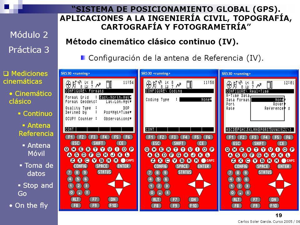 19 Carlos Soler García. Curso 2005 / 06 SISTEMA DE POSICIONAMIENTO GLOBAL (GPS). APLICACIONES A LA INGENIERÍA CIVIL, TOPOGRAFÍA, CARTOGRAFÍA Y FOTOGRA