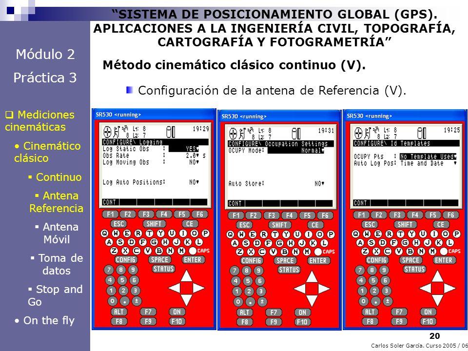 20 Carlos Soler García. Curso 2005 / 06 SISTEMA DE POSICIONAMIENTO GLOBAL (GPS). APLICACIONES A LA INGENIERÍA CIVIL, TOPOGRAFÍA, CARTOGRAFÍA Y FOTOGRA