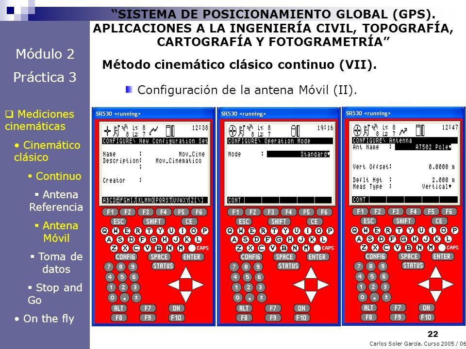 22 Carlos Soler García. Curso 2005 / 06 SISTEMA DE POSICIONAMIENTO GLOBAL (GPS). APLICACIONES A LA INGENIERÍA CIVIL, TOPOGRAFÍA, CARTOGRAFÍA Y FOTOGRA