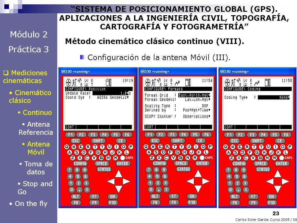 23 Carlos Soler García. Curso 2005 / 06 SISTEMA DE POSICIONAMIENTO GLOBAL (GPS). APLICACIONES A LA INGENIERÍA CIVIL, TOPOGRAFÍA, CARTOGRAFÍA Y FOTOGRA