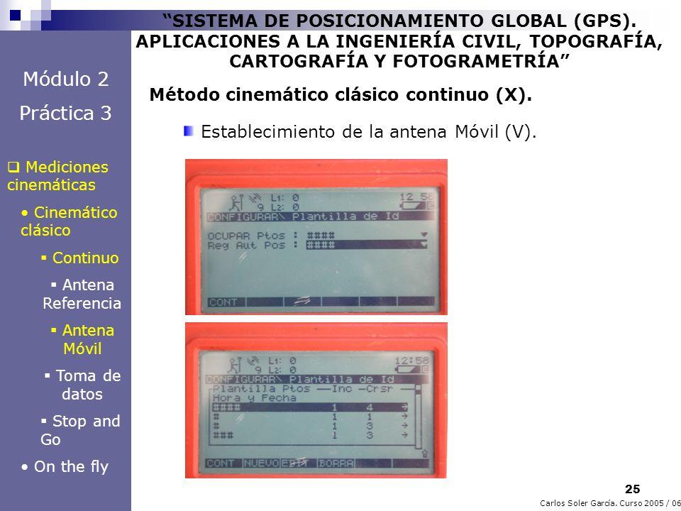 25 Carlos Soler García. Curso 2005 / 06 SISTEMA DE POSICIONAMIENTO GLOBAL (GPS). APLICACIONES A LA INGENIERÍA CIVIL, TOPOGRAFÍA, CARTOGRAFÍA Y FOTOGRA