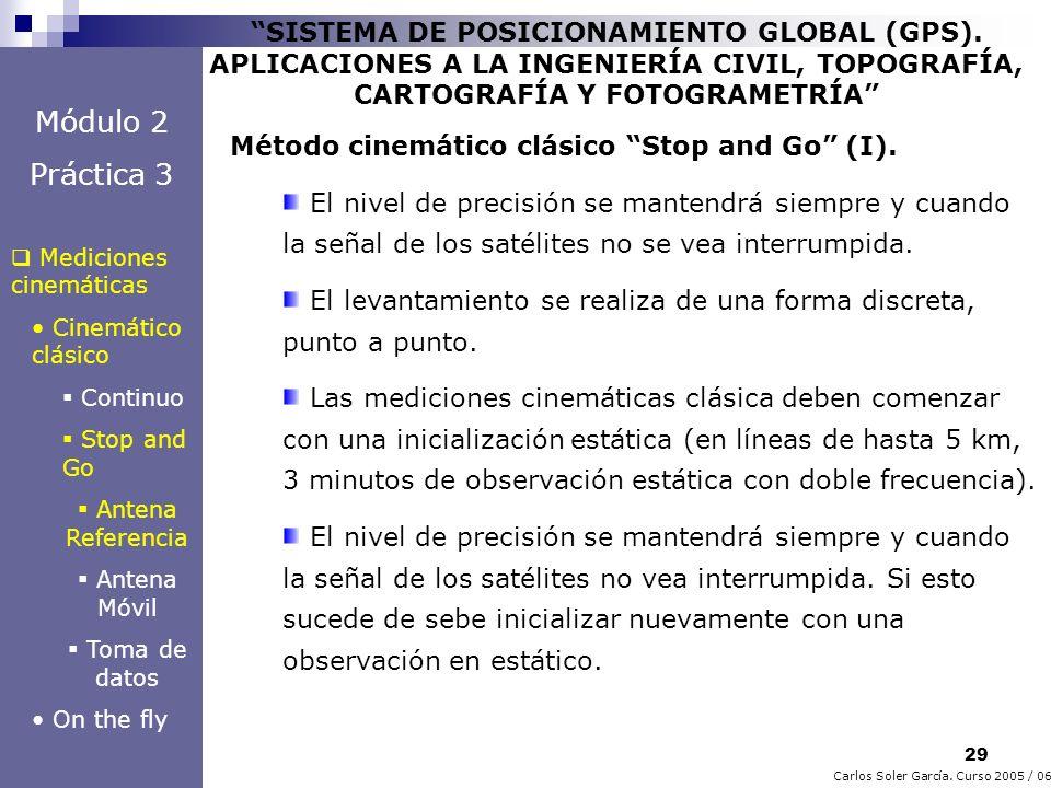 29 Carlos Soler García. Curso 2005 / 06 SISTEMA DE POSICIONAMIENTO GLOBAL (GPS). APLICACIONES A LA INGENIERÍA CIVIL, TOPOGRAFÍA, CARTOGRAFÍA Y FOTOGRA