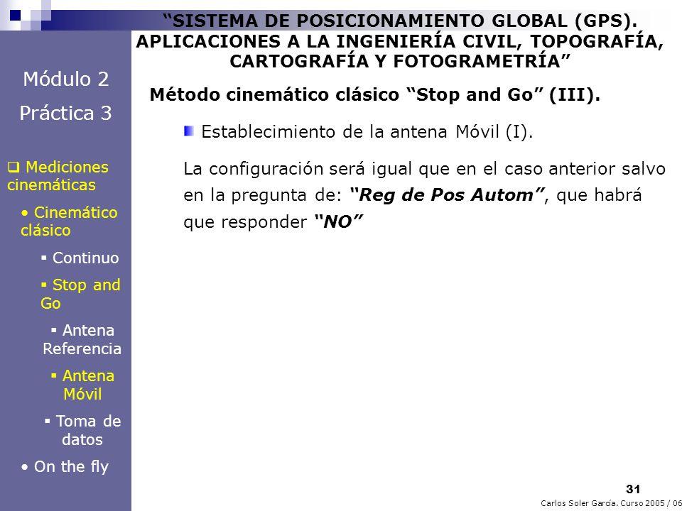 31 Carlos Soler García. Curso 2005 / 06 SISTEMA DE POSICIONAMIENTO GLOBAL (GPS). APLICACIONES A LA INGENIERÍA CIVIL, TOPOGRAFÍA, CARTOGRAFÍA Y FOTOGRA