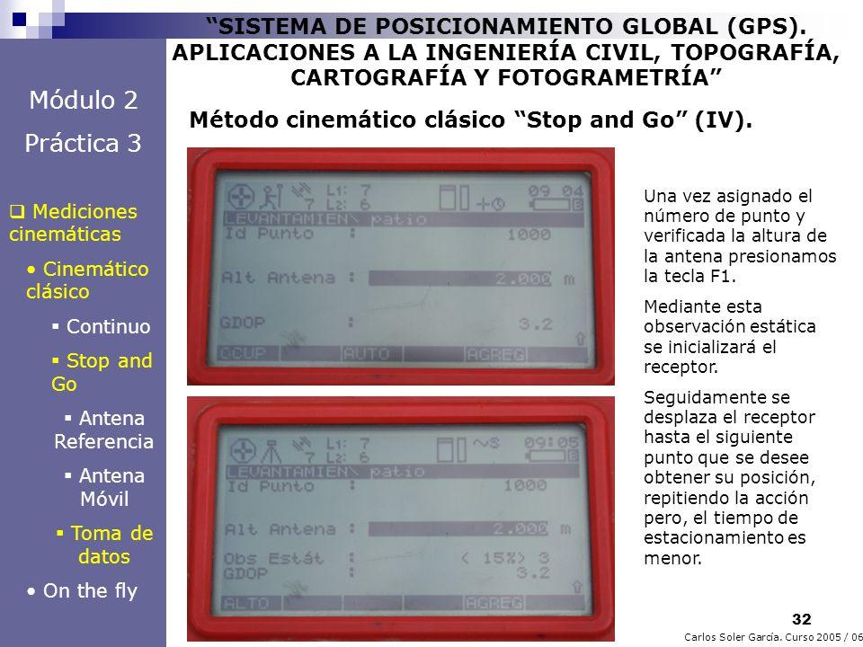 32 Carlos Soler García. Curso 2005 / 06 SISTEMA DE POSICIONAMIENTO GLOBAL (GPS). APLICACIONES A LA INGENIERÍA CIVIL, TOPOGRAFÍA, CARTOGRAFÍA Y FOTOGRA