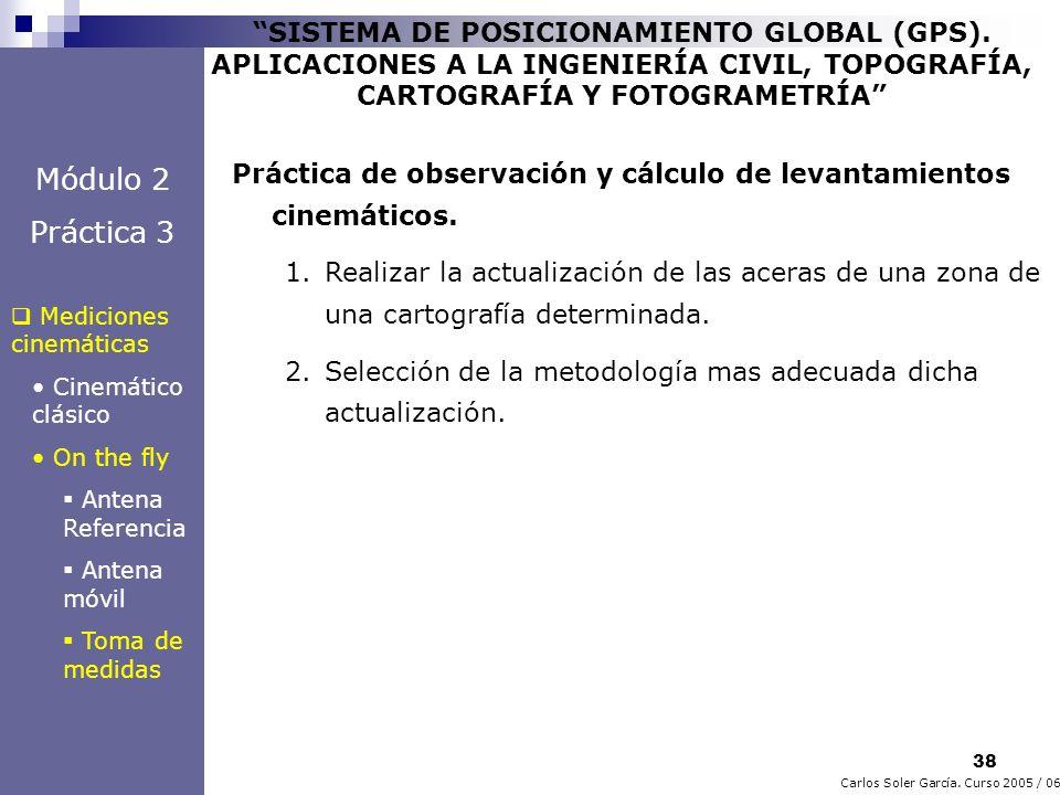 38 Carlos Soler García. Curso 2005 / 06 SISTEMA DE POSICIONAMIENTO GLOBAL (GPS). APLICACIONES A LA INGENIERÍA CIVIL, TOPOGRAFÍA, CARTOGRAFÍA Y FOTOGRA