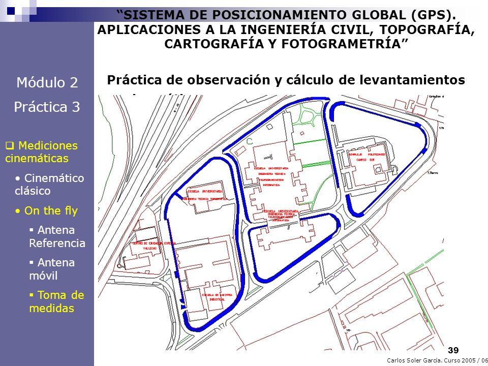 39 Carlos Soler García. Curso 2005 / 06 SISTEMA DE POSICIONAMIENTO GLOBAL (GPS). APLICACIONES A LA INGENIERÍA CIVIL, TOPOGRAFÍA, CARTOGRAFÍA Y FOTOGRA