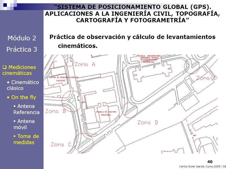 40 Carlos Soler García. Curso 2005 / 06 SISTEMA DE POSICIONAMIENTO GLOBAL (GPS). APLICACIONES A LA INGENIERÍA CIVIL, TOPOGRAFÍA, CARTOGRAFÍA Y FOTOGRA