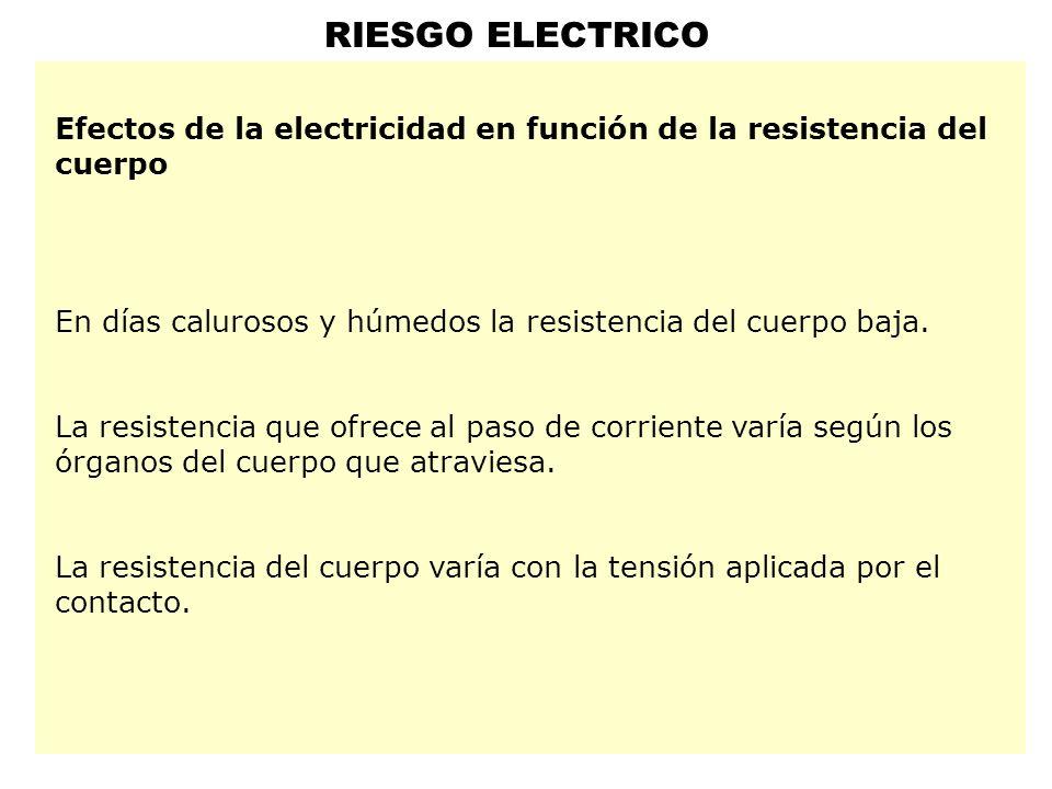 RIESGO ELECTRICO Efectos de la electricidad en función de la resistencia del cuerpo En días calurosos y húmedos la resistencia del cuerpo baja.
