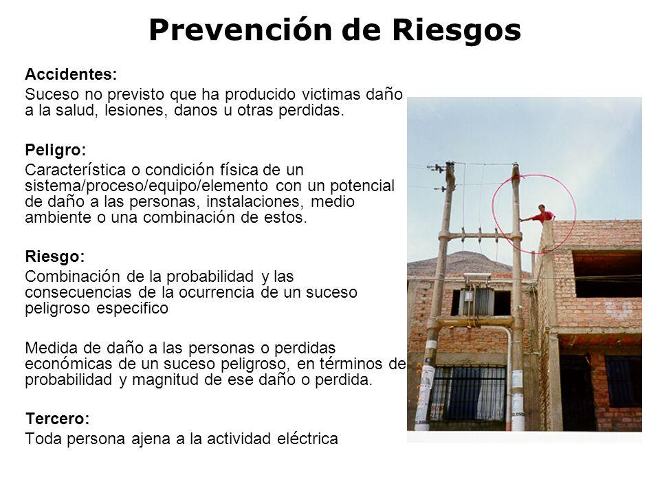 RIESGO ELECTRICO PREVENCION DE RIESGOS ELECTRICOS CONSIDERAR QUE TODOS LOS CIRCUITOS LLEVAN CORRIENTE HASTA QUE SE DEMUESTRE LO CONTRARIO EVITAR EL ACCESO DE PERSONAL NO AUTORIZADO A ZONAS DE TABLERO ELÉCTRICO USO DE EQUIPO PROTECTOR APROPIADO (GUANTES, PROTECTORES VISUALES Y ROPA ESPECIFICA) NO TRABAJAR EN LÍNEAS CON TENSIÓN COLOCAR VALLAS Y SEÑALES EN ZONAS PELIGROSAS PROTEGERSE CONTRA EL CONTACTO CON EQUIPOS ENERGIZADOS ADECUADA TOMA A TIERRA DEL SISTEMA ELÉCTRICO Y DE EQUIPOS ELÉCTRICOS NO DEJAR CONDUCTORES DESNUDOS EN LAS INSTALACIONES.