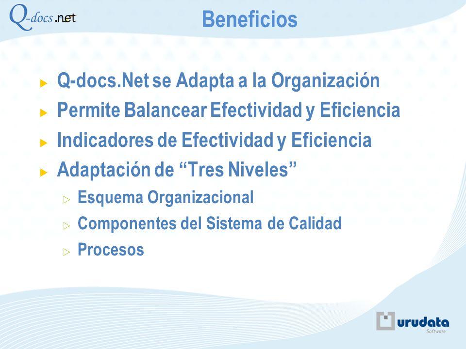 Q-docs.Net se Adapta a la Organización Permite Balancear Efectividad y Eficiencia Indicadores de Efectividad y Eficiencia Adaptación de Tres Niveles E