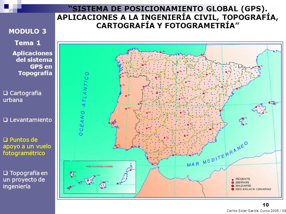 10 Carlos Soler García. Curso 2005 / 06 SISTEMA DE POSICIONAMIENTO GLOBAL (GPS). APLICACIONES A LA INGENIERÍA CIVIL, TOPOGRAFÍA, CARTOGRAFÍA Y FOTOGRA