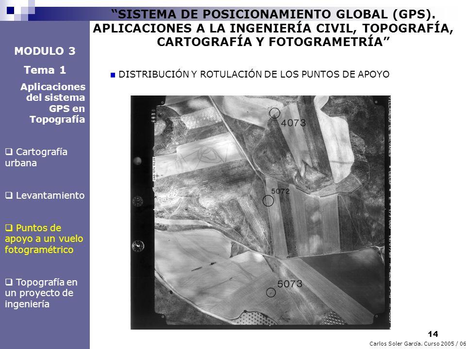 14 Carlos Soler García. Curso 2005 / 06 SISTEMA DE POSICIONAMIENTO GLOBAL (GPS). APLICACIONES A LA INGENIERÍA CIVIL, TOPOGRAFÍA, CARTOGRAFÍA Y FOTOGRA