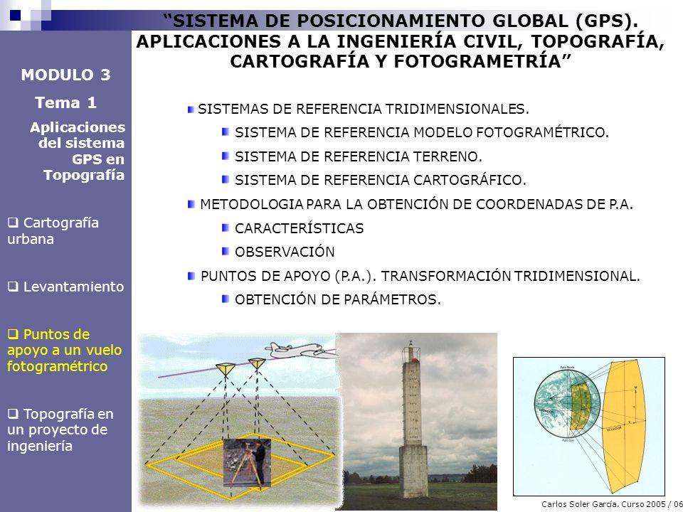3 Carlos Soler García. Curso 2005 / 06 SISTEMA DE POSICIONAMIENTO GLOBAL (GPS). APLICACIONES A LA INGENIERÍA CIVIL, TOPOGRAFÍA, CARTOGRAFÍA Y FOTOGRAM