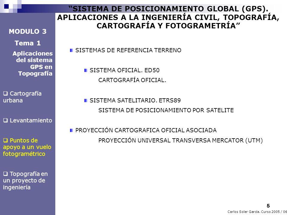 5 Carlos Soler García. Curso 2005 / 06 SISTEMA DE POSICIONAMIENTO GLOBAL (GPS). APLICACIONES A LA INGENIERÍA CIVIL, TOPOGRAFÍA, CARTOGRAFÍA Y FOTOGRAM