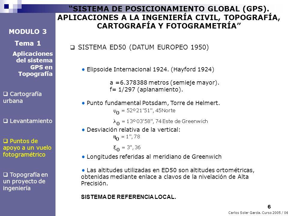 7 Carlos Soler García.Curso 2005 / 06 SISTEMA DE POSICIONAMIENTO GLOBAL (GPS).