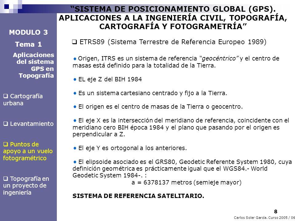 8 Carlos Soler García. Curso 2005 / 06 SISTEMA DE POSICIONAMIENTO GLOBAL (GPS). APLICACIONES A LA INGENIERÍA CIVIL, TOPOGRAFÍA, CARTOGRAFÍA Y FOTOGRAM