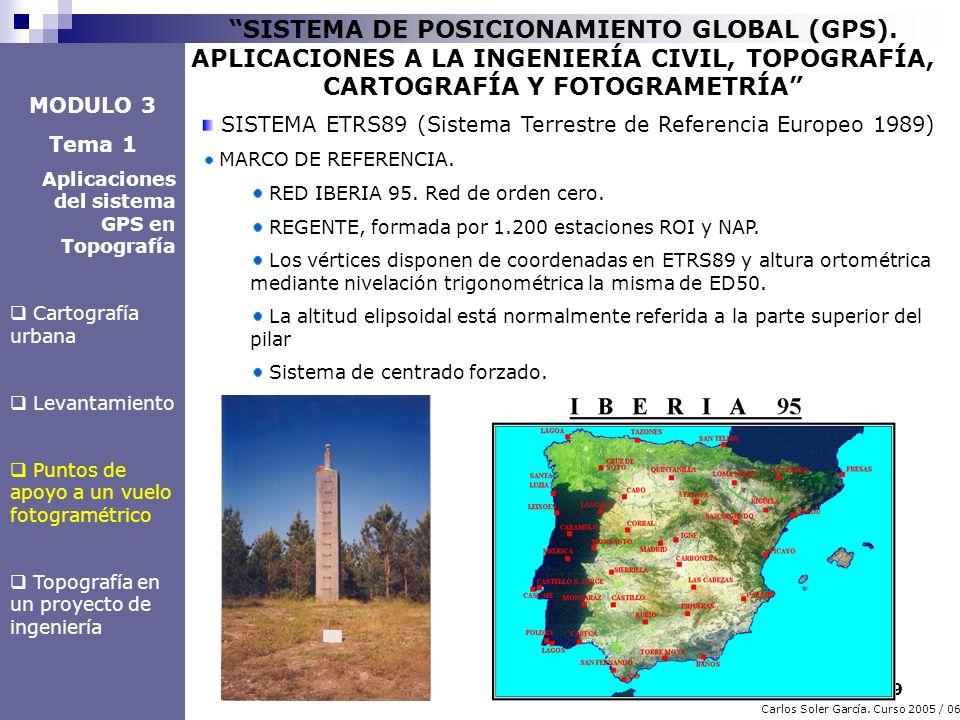 9 Carlos Soler García. Curso 2005 / 06 SISTEMA DE POSICIONAMIENTO GLOBAL (GPS). APLICACIONES A LA INGENIERÍA CIVIL, TOPOGRAFÍA, CARTOGRAFÍA Y FOTOGRAM