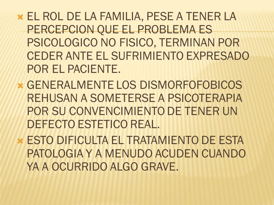 EL ROL DE LA FAMILIA, PESE A TENER LA PERCEPCION QUE EL PROBLEMA ES PSICOLOGICO NO FISICO, TERMINAN POR CEDER ANTE EL SUFRIMIENTO EXPRESADO POR EL PAC