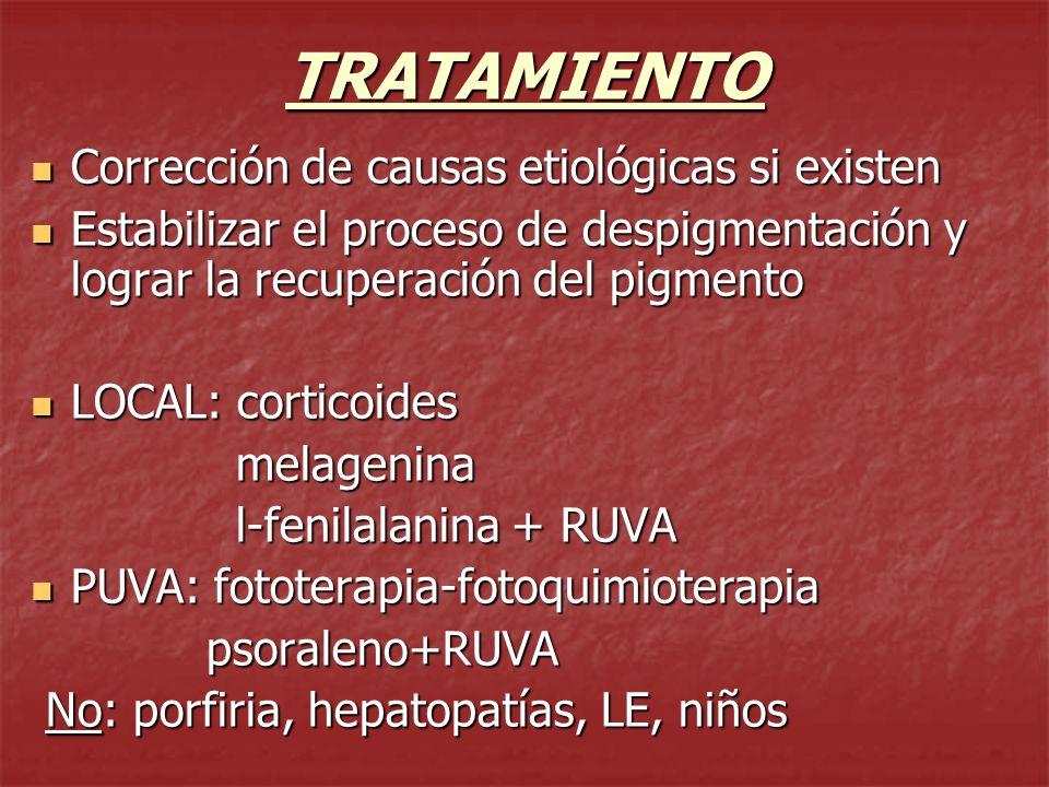 TRATAMIENTO Repigmentación perifolicular Repigmentación perifolicular Depigmentación: en casos de vitiligo univ.