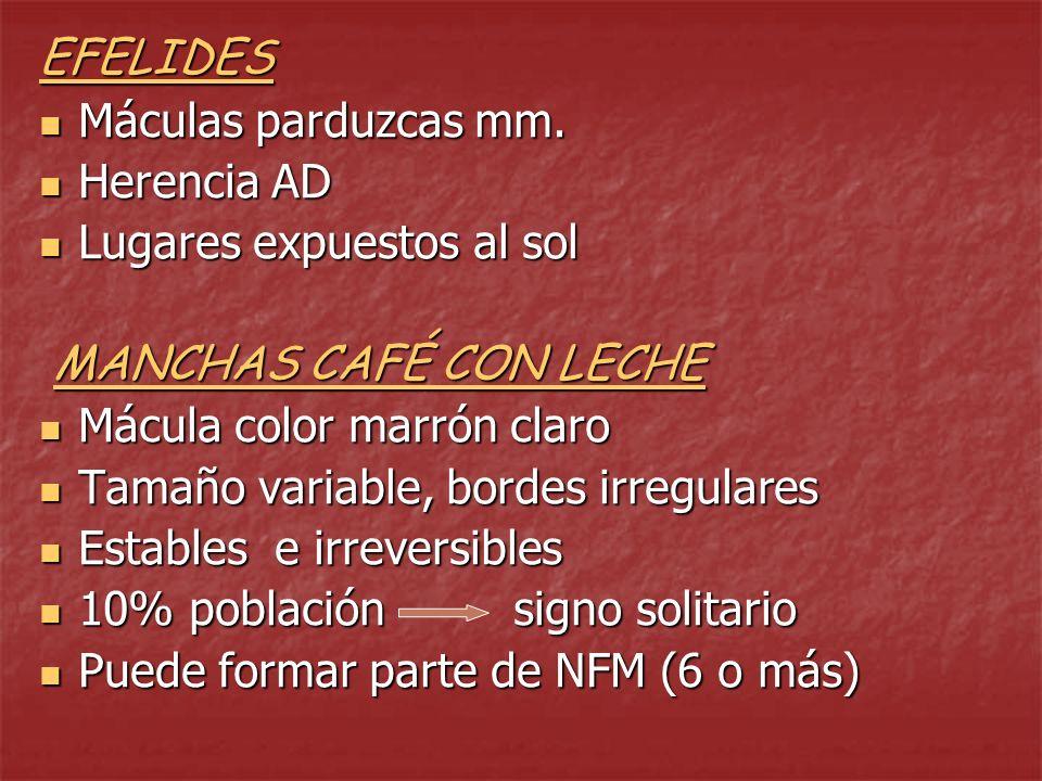 MELASMA Hiperpigmentación asintomática facial Hiperpigmentación asintomática facial Frecuente en mujeres, tez morena Frecuente en mujeres, tez morena Afecta simétricamente (mejillas, dorso nasal, frente, labio superior, mentón) Afecta simétricamente (mejillas, dorso nasal, frente, labio superior, mentón) Tinte amarillo-parduzco s/ tono piel Tinte amarillo-parduzco s/ tono piel NO: eritema, descamación, prurito, atrofia NO: eritema, descamación, prurito, atrofia Se acentúa en verano Se acentúa en verano