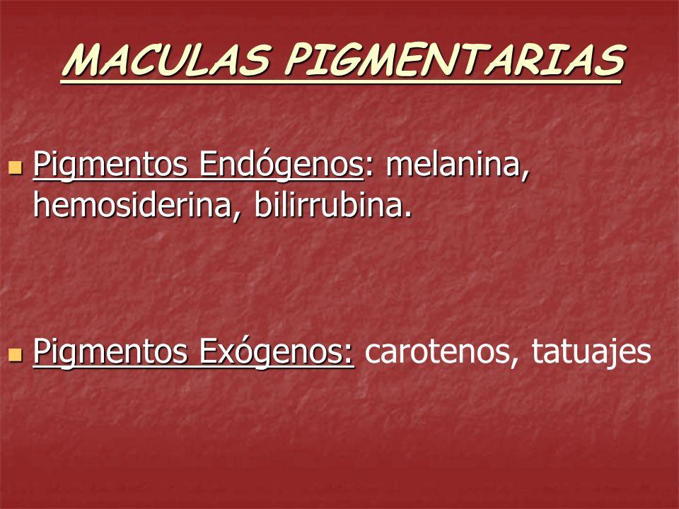 MACULAS PIGMENTARIAS Hiperpigmentación: melasma, Addison Hiperpigmentación: melasma, Addison Hipopigmentación: albinismo, pitiriasis versicolor Hipopigmentación: albinismo, pitiriasis versicolor Acromía: vitiligo Acromía: vitiligo Púrpura: depósito hemosiderina Púrpura: depósito hemosiderina Ictericia: aumento de bilirrubina.