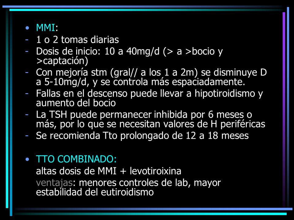 MMI: -1 o 2 tomas diarias -Dosis de inicio: 10 a 40mg/d (> a >bocio y >captación) -Con mejoría stm (gral// a los 1 a 2m) se disminuye D a 5-10mg/d, y