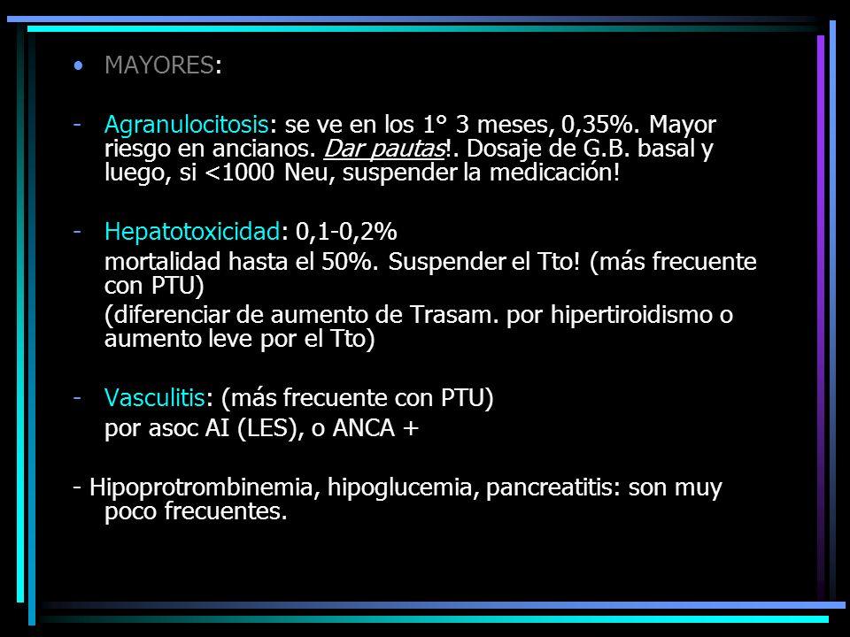 MAYORES: -Agranulocitosis: se ve en los 1° 3 meses, 0,35%. Mayor riesgo en ancianos. Dar pautas!. Dosaje de G.B. basal y luego, si <1000 Neu, suspende