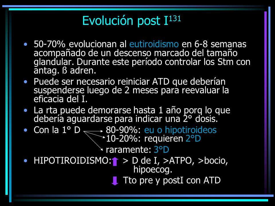 Evolución post I 131 50-70% evolucionan al eutiroidismo en 6-8 semanas acompañado de un descenso marcado del tamaño glandular. Durante este período co