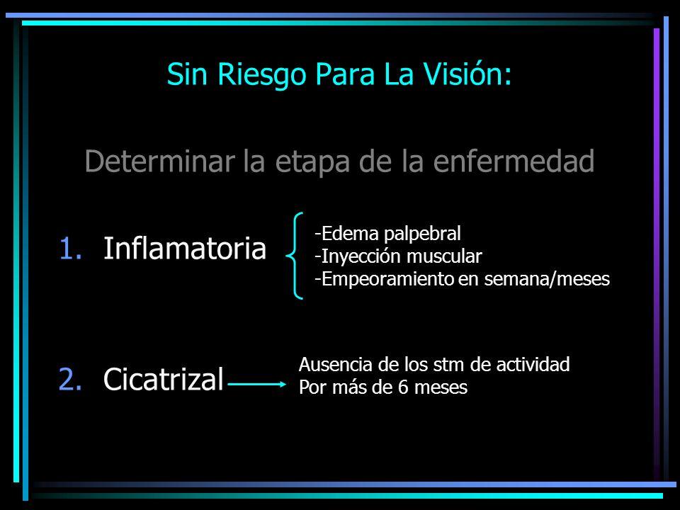 Sin Riesgo Para La Visión: Determinar la etapa de la enfermedad 1.Inflamatoria 2.Cicatrizal -Edema palpebral -Inyección muscular -Empeoramiento en sem