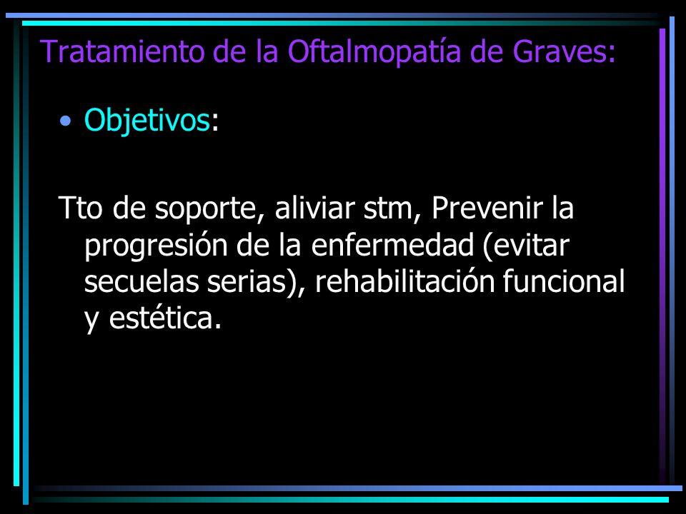 Tratamiento de la Oftalmopatía de Graves: Objetivos: Tto de soporte, aliviar stm, Prevenir la progresión de la enfermedad (evitar secuelas serias), re