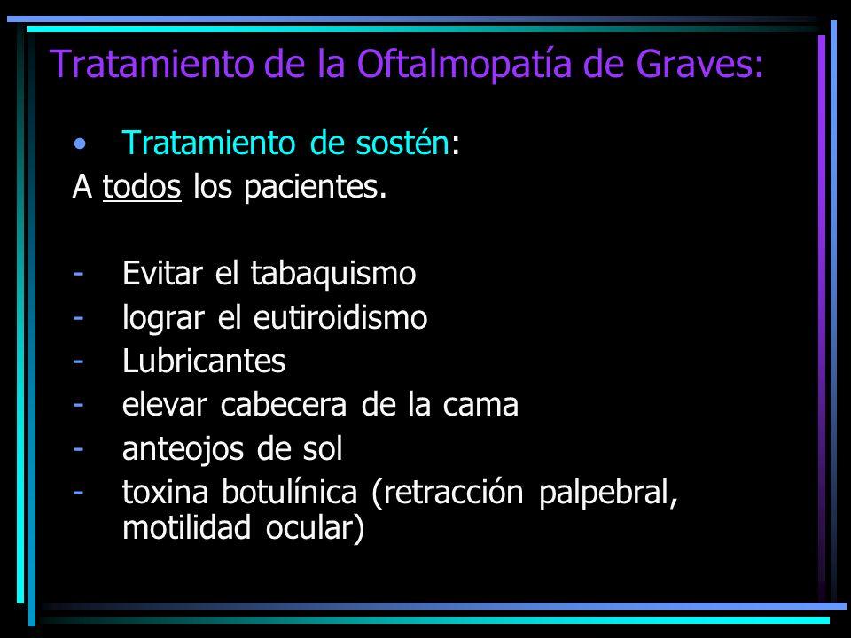 Tratamiento de la Oftalmopatía de Graves: Tratamiento de sostén: A todos los pacientes. -Evitar el tabaquismo -lograr el eutiroidismo -Lubricantes -el