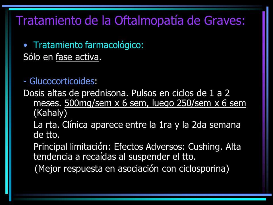 Tratamiento de la Oftalmopatía de Graves: Tratamiento farmacológico: Sólo en fase activa. - Glucocorticoides: Dosis altas de prednisona. Pulsos en cic
