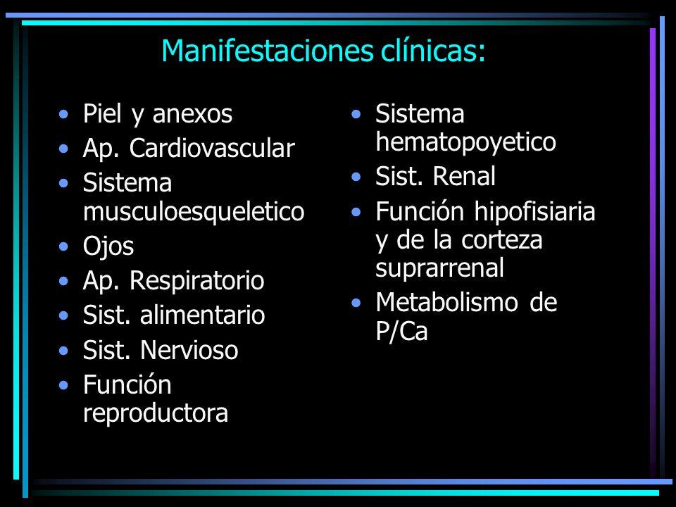 Manifestaciones clínicas: Piel y anexos Ap. Cardiovascular Sistema musculoesqueletico Ojos Ap. Respiratorio Sist. alimentario Sist. Nervioso Función r