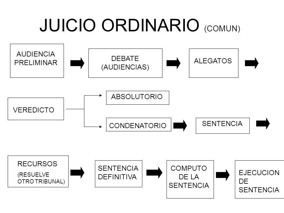 JUICIO ORDINARIO (COMUN) AUDIENCIA PRELIMINAR DEBATE (AUDIENCIAS) ALEGATOS VEREDICTO ABSOLUTORIO CONDENATORIO SENTENCIA RECURSOS (RESUELVE OTRO TRIBUNAL) SENTENCIA DEFINITIVA COMPUTO DE LA SENTENCIA EJECUCION DE SENTENCIA