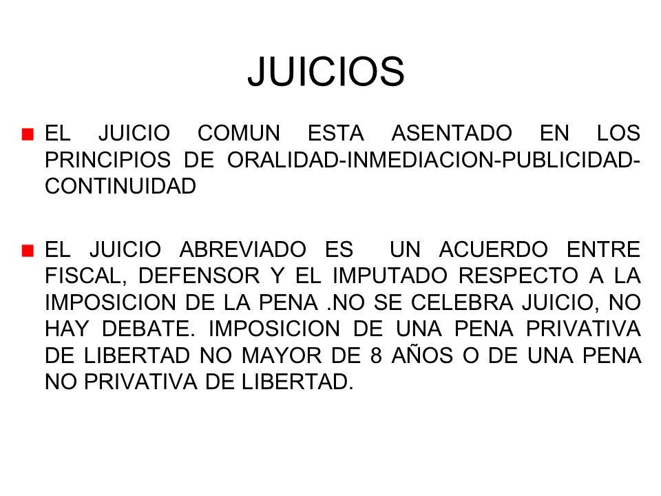 JUICIOS EL JUICIO COMUN ESTA ASENTADO EN LOS PRINCIPIOS DE ORALIDAD-INMEDIACION-PUBLICIDAD- CONTINUIDAD EL JUICIO ABREVIADO ES UN ACUERDO ENTRE FISCAL, DEFENSOR Y EL IMPUTADO RESPECTO A LA IMPOSICION DE LA PENA.NO SE CELEBRA JUICIO, NO HAY DEBATE.