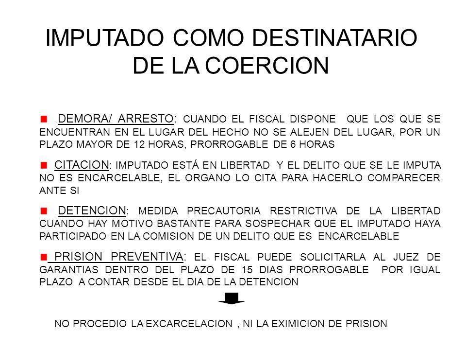 IMPUTADO COMO DESTINATARIO DE LA COERCION DEMORA/ ARRESTO: CUANDO EL FISCAL DISPONE QUE LOS QUE SE ENCUENTRAN EN EL LUGAR DEL HECHO NO SE ALEJEN DEL LUGAR, POR UN PLAZO MAYOR DE 12 HORAS, PRORROGABLE DE 6 HORAS CITACION : IMPUTADO ESTÁ EN LIBERTAD Y EL DELITO QUE SE LE IMPUTA NO ES ENCARCELABLE, EL ORGANO LO CITA PARA HACERLO COMPARECER ANTE SI DETENCION : MEDIDA PRECAUTORIA RESTRICTIVA DE LA LIBERTAD CUANDO HAY MOTIVO BASTANTE PARA SOSPECHAR QUE EL IMPUTADO HAYA PARTICIPADO EN LA COMISION DE UN DELITO QUE ES ENCARCELABLE PRISION PREVENTIVA: EL FISCAL PUEDE SOLICITARLA AL JUEZ DE GARANTIAS DENTRO DEL PLAZO DE 15 DIAS PRORROGABLE POR IGUAL PLAZO A CONTAR DESDE EL DIA DE LA DETENCION NO PROCEDIO LA EXCARCELACION, NI LA EXIMICION DE PRISION