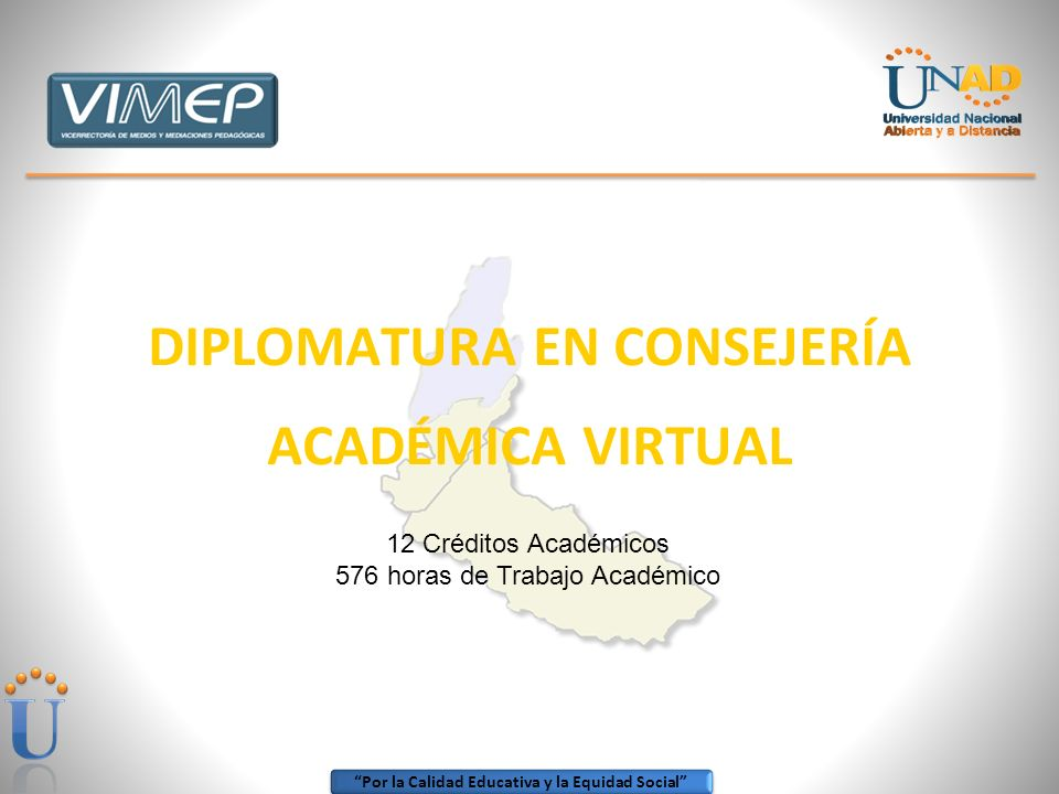 Por la Calidad Educativa y la Equidad Social DIPLOMATURA EN CONSEJERÍA ACADÉMICA VIRTUAL 12 Créditos Académicos 576 horas de Trabajo Académico