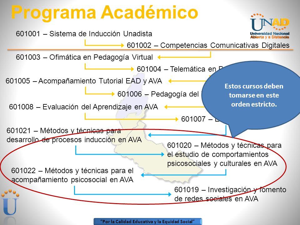 Por la Calidad Educativa y la Equidad Social Programa Académico 601001 – Sistema de Inducción Unadista 601002 – Competencias Comunicativas Digitales 601003 – Ofimática en Pedagogía Virtual 601004 – Telemática en Pedagogía Virtual 601005 – Acompañamiento Tutorial EAD y AVA 601008 – Evaluación del Aprendizaje en AVA 601007 – Estándar CORE 601021 – Métodos y técnicas para desarrollo de procesos inducción en AVA 601020 – Métodos y técnicas para el estudio de comportamientos psicosociales y culturales en AVA 601022 – Métodos y técnicas para el acompañamiento psicosocial en AVA 601019 – Investigación y fomento de redes sociales en AVA 601006 – Pedagogía del Trabajo Colaborativo en AVA Estos cursos deben tomarse en este orden estricto.