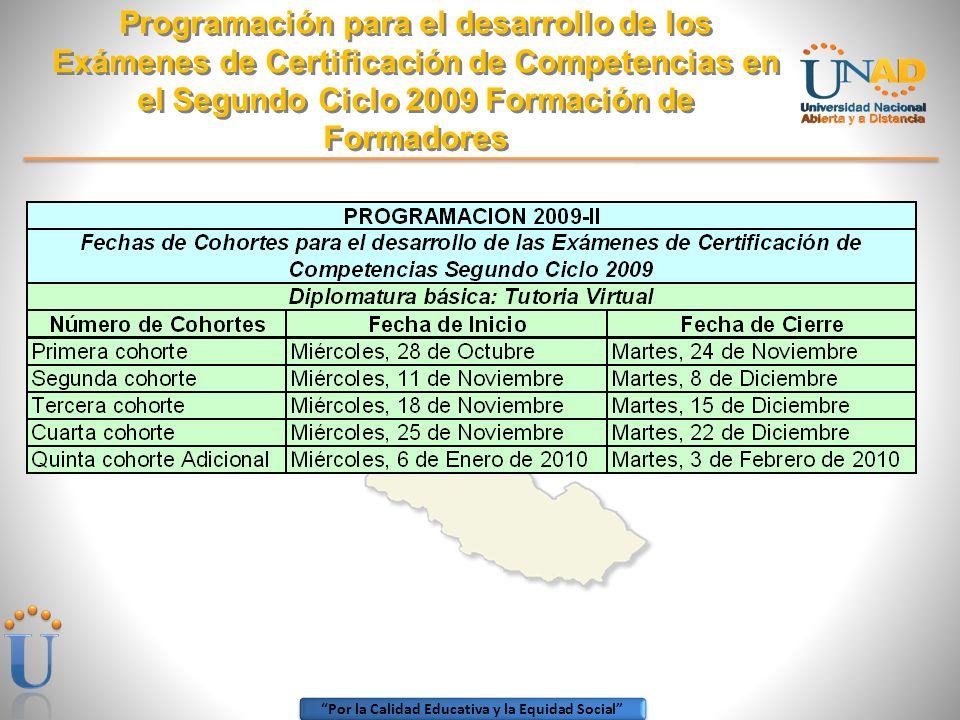Por la Calidad Educativa y la Equidad Social Programación para el desarrollo de los Exámenes de Certificación de Competencias en el Segundo Ciclo 2009 Formación de Formadores