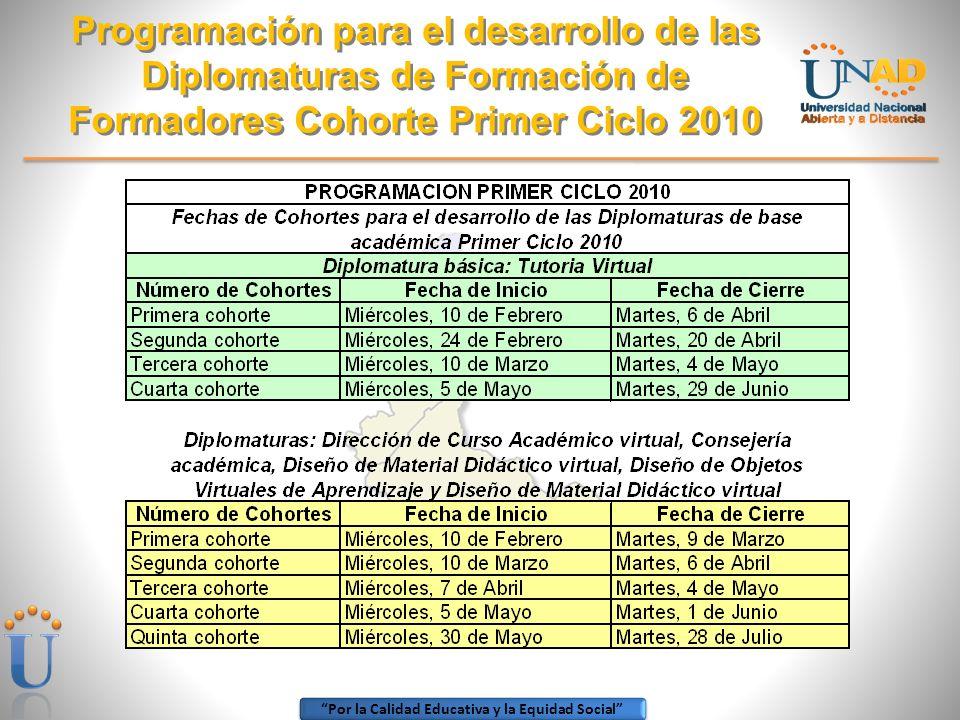Por la Calidad Educativa y la Equidad Social Programación para el desarrollo de las Diplomaturas de Formación de Formadores Cohorte Primer Ciclo 2010
