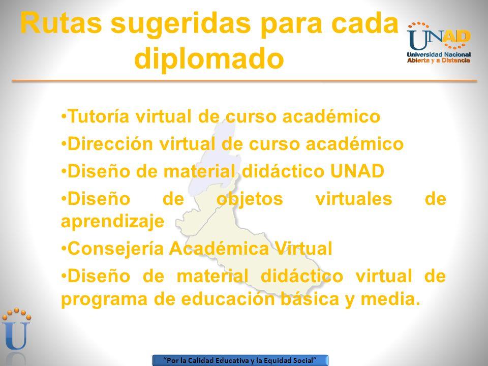 Por la Calidad Educativa y la Equidad Social Rutas sugeridas para cada diplomado Tutoría virtual de curso académico Dirección virtual de curso académi