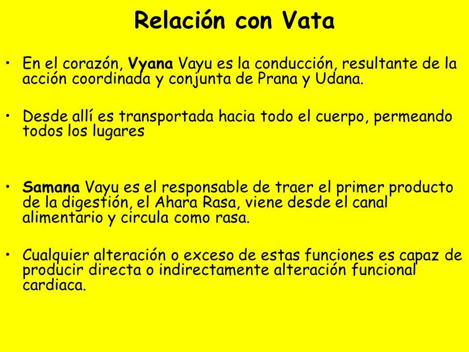 Relación con Vata En el corazón, Vyana Vayu es la conducción, resultante de la acción coordinada y conjunta de Prana y Udana.